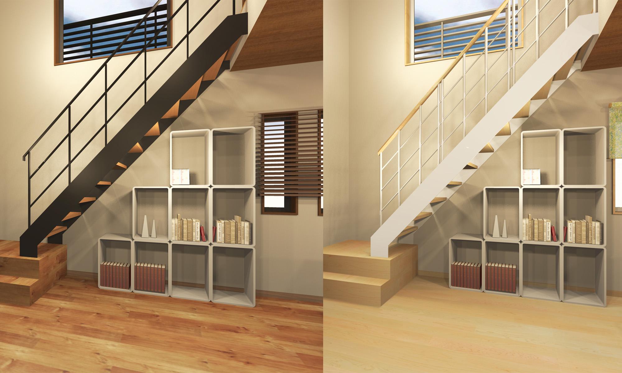 室内階段 スチール階段+アイアン手摺 ※手摺の色は黒白選択可