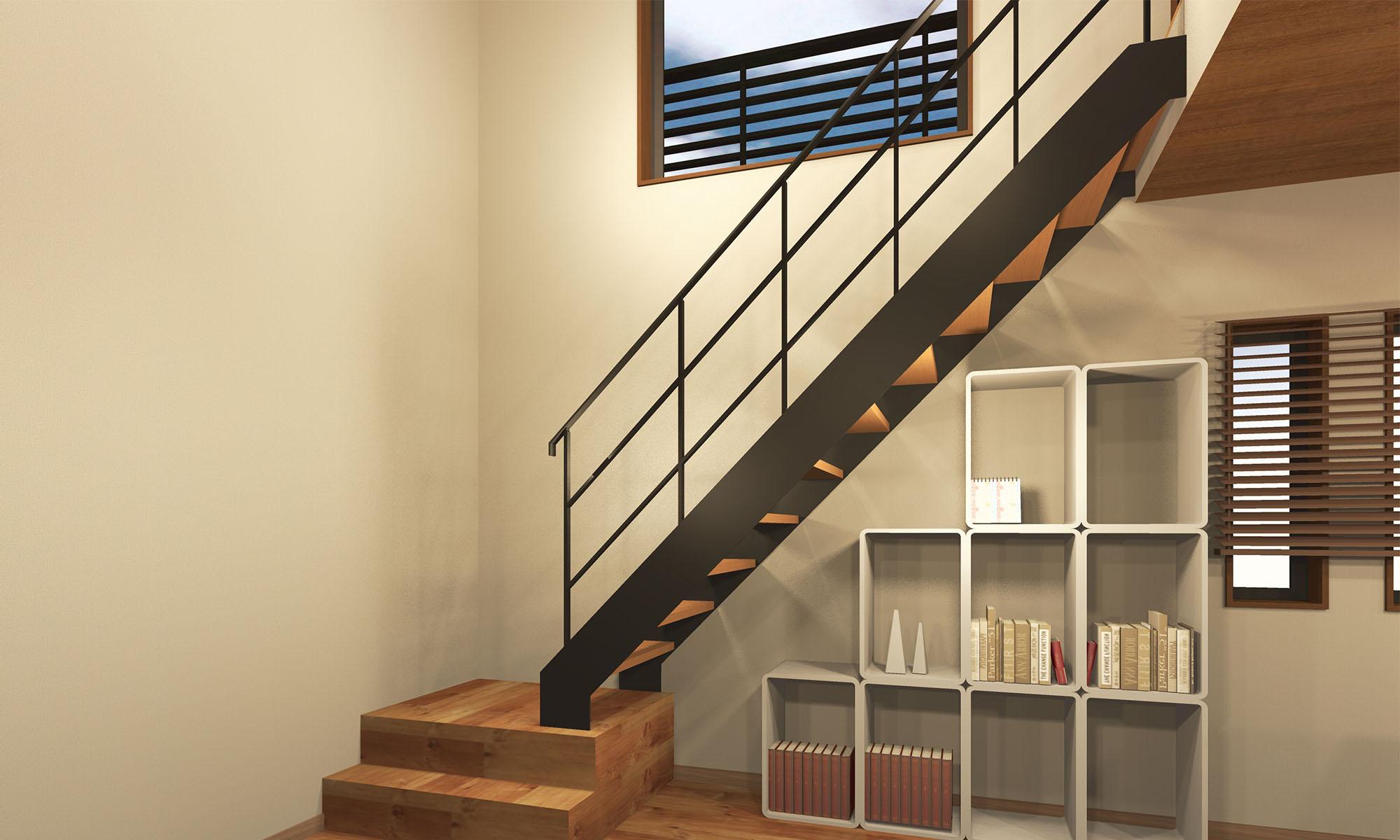 室内階段 スチール階段+アイアン手摺(黒)